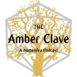 Logo for the amber clave, it reads The Amber Clave, a Numenera Podcast with an amber shaded oak tree sillhoutte with a d20 outline behind it.