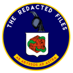 the redacted files logo. it mimics the CIA logo, a blue seal wtih The Redacted Files across the top and Ab abyssos ad astra at the bottom. The center has a night gaunt in sillhouette over a shield that has a d20, 1 side pointing up, wrapped in tentacles